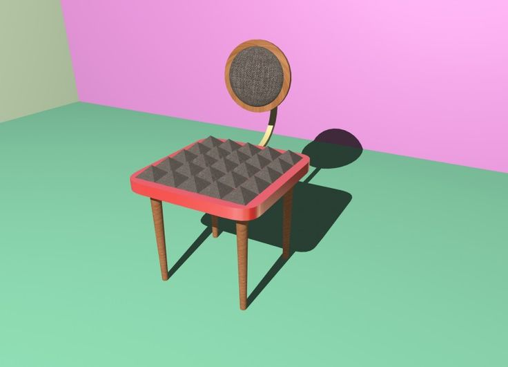 Formabilio - la sedia è costituita da elementi di appoggio in pero e da una struttura di appoggio (seduta) costituita da multistrato sagomato e rivestito in formica con imbottitura in poliuretano e tessuto. Con schienale rotante che assume varie inclinazioni imbottito e rivestito in tessuto. Non ci sono limiti nei colori del tessuto utilizzabili nel rivestimento. La sedia ironizza sul ruolo scomodo delle punte , ma in realtà è e dovrebbe essere comodissima , da cui il nome fakira.