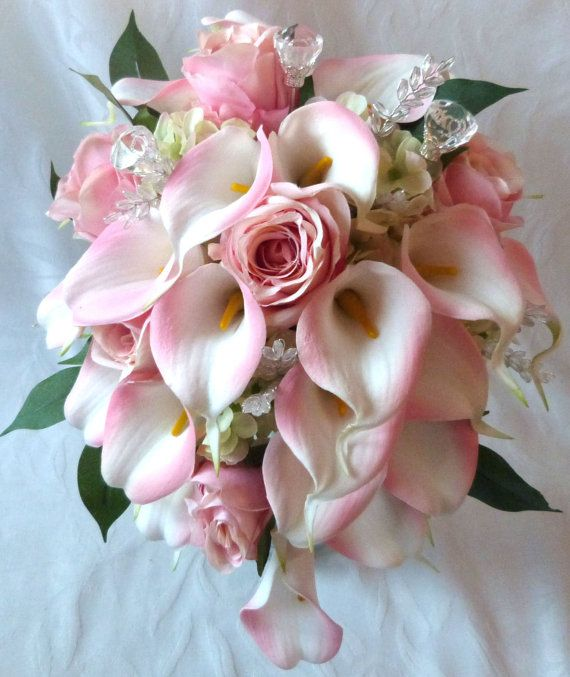 Blush Pink rose and pink Calla lily cascading wedding bouquet set on Etsy, $99.00
