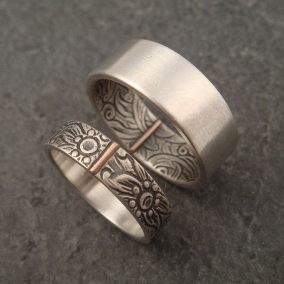 Opposites Attract Wedding Band Set by DownToTheWireDesigns on Etsy