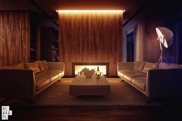 Prosty, ale elegancki wystrój salonu nabiera jeszcze więcej uroku dzięki nastrojowemu oświetleniu.