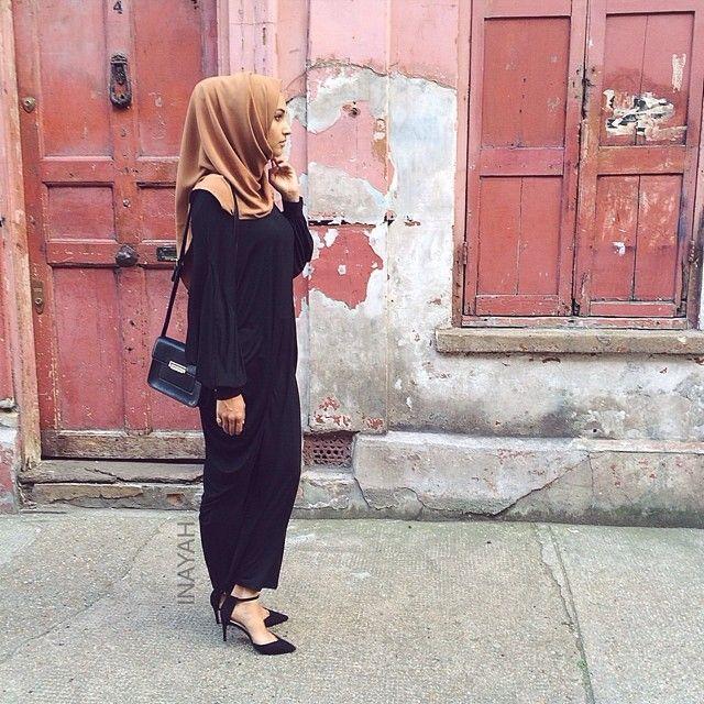 islamic-fashion-inayah:  - STREET STYLE Black Urbane Abaya Cinnamon Soft Touch Hijab Mink Jersey Hijab Cap www.inayahcollection.com