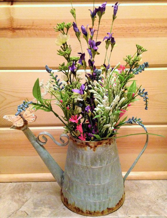 583 best bouquets and designs images on pinterest artificial flower arrangements in tin watering can google search mightylinksfo