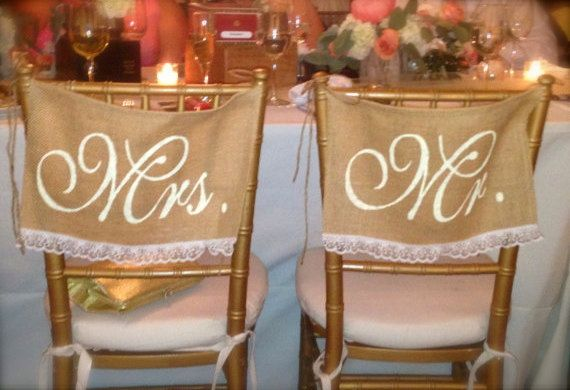 Burlap and lace wedding chair signs. Mr and Mrs chair signs wedding Decor