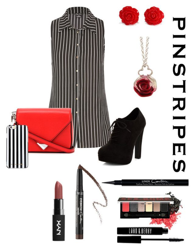 """pin stripes"" by mafelanza ❤ liked on Polyvore featuring City Chic, Alexander Wang, New Look, MICHAEL Michael Kors, Sian Bostwick Jewellery, Givenchy, Lord & Berry, NYX and plus size clothing"