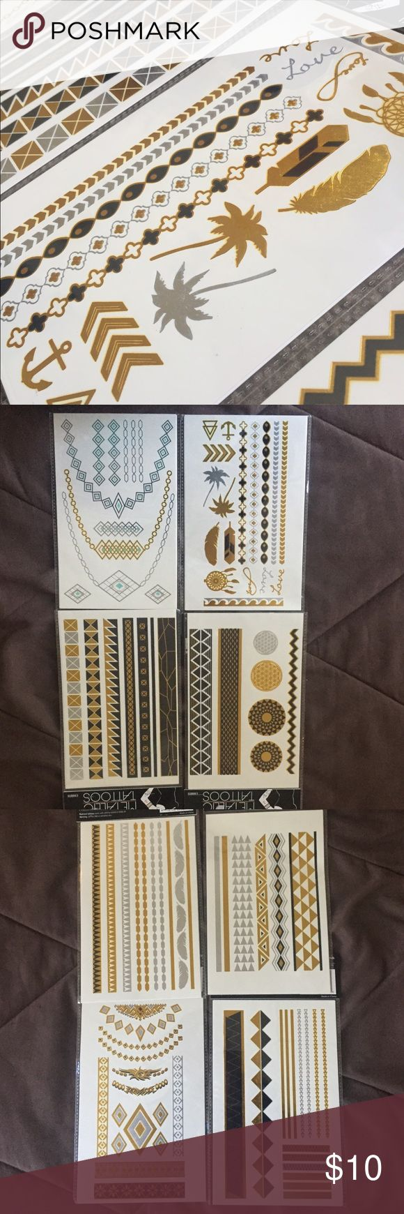 Metallic Music Festival Tattoos- Lot of four!! All new, includes four packages with two sheets each, retail $8 per pack!! See pictures for exact tattoos. Super cute. Temporary. -- Accessories