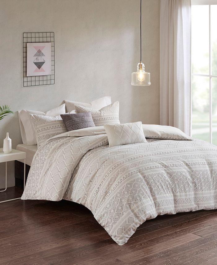 Emerson Full Queen 5pc Clip Jacquard Duvet Cover Set White Gray Comforter Sets Duvet Cover Sets King Duvet Cover Sets