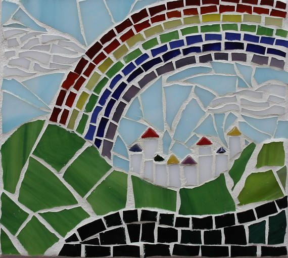 Small mosaic artwork Rainbow clouds houses hills landscape