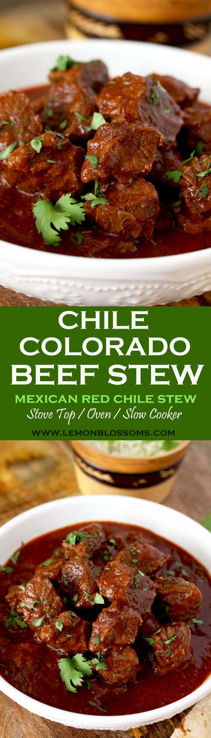 This rich and hearty Chile Colorado Beef Stew is lip-smacking good! Beef chunks are simmered in a Mexican style red chile sauce until fall-apart tender. A meal in itself and perfect for tacos or burritos! Stove Top, Oven and Slow Cooker Instructions Provided. via @lmnblossoms