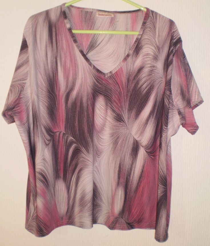 Bonmarche Funky Pattern Purple Multi Colours Short Sleeved Tunic Top Size XL