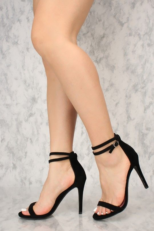 76cc23ff83e Sexy Black Wrap Around Ankle Strap Open Toe Single Sole High Heels ...