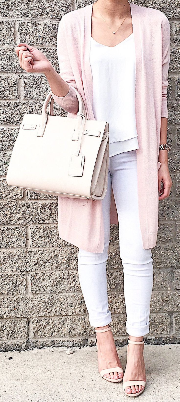 Pink Maxi Cardigan / Light Pink Leather Tote Bag / White Skinny Jeans / White Top