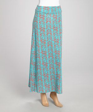 Another great find on #zulily! Hadari Aqua & Coral Maxi Skirt - Women by Hadari #zulilyfinds