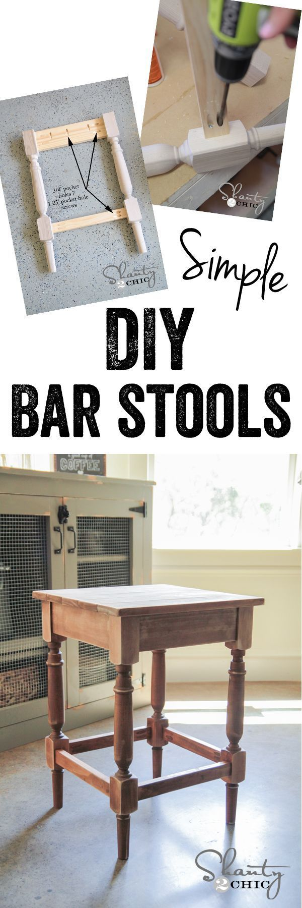 Diy Furniture : LOVE These DIY Bar Stools Free Plans For Tall Or Short  Stools!