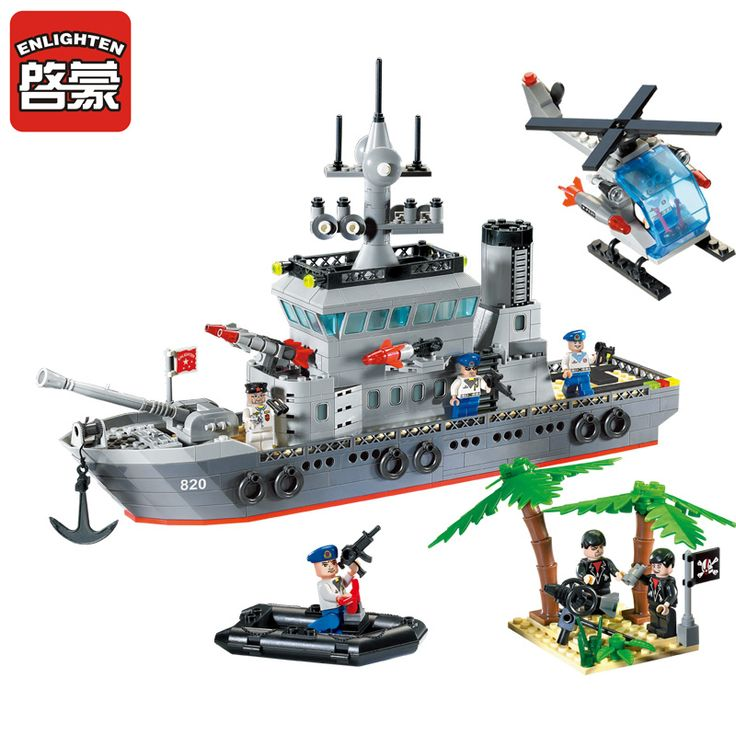 Enlighten Building Blocks Navy Frigate Ship Assembling Building Blocks Military Series Blocks Girls&Boys Brick Toys For Children