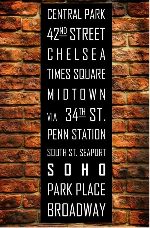 New York Subway Sign Art Subway Print Bus Roll City Poster Printed on Styrene - Modern Home Decor Typography 12X36
