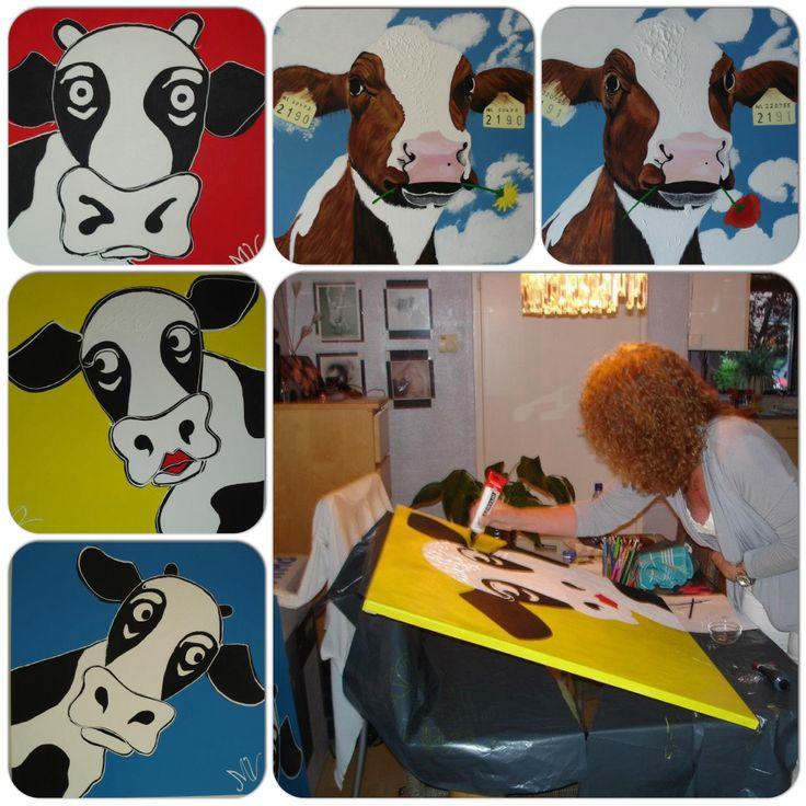 Serie koeien, acrylverf