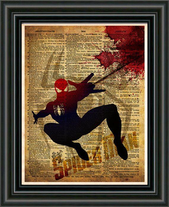 Spider Man  Justice League  Vintage pop art print   by Loft817, $7.99