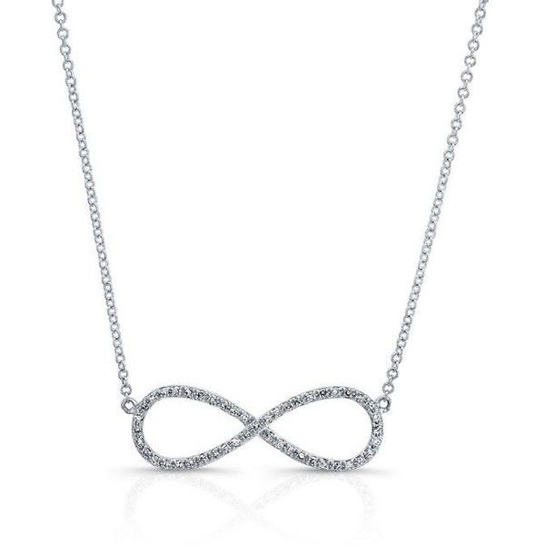14kt white gold diamond large infinity necklace