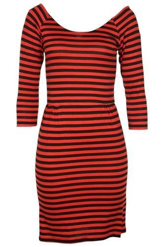 MELON/BLACK STRIPE PRINT 3/4 SLEEVE LADIES DRESS