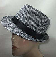 Cotton Trilby - Black & White Checker 58