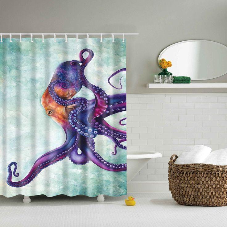 octopus printed bathroom shower curtain rideau de douche de chevreuils geometric shower curtain