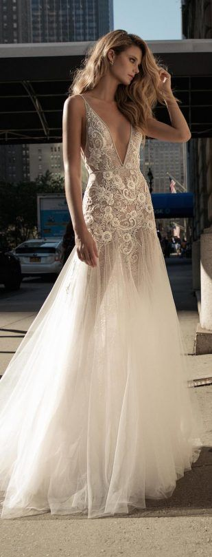 A sexy white lace with v neck gown for Berta Bridal Fall 2017