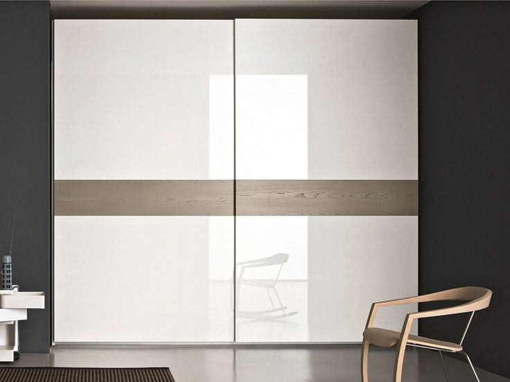 Lacquered ash wardrobe with sliding doors STAR by SMA Mobili