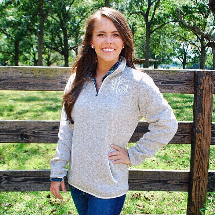 A personal favorite from my Etsy shop https://www.etsy.com/listing/245910573/preppy-monogrammed-quarter-zip-sweater