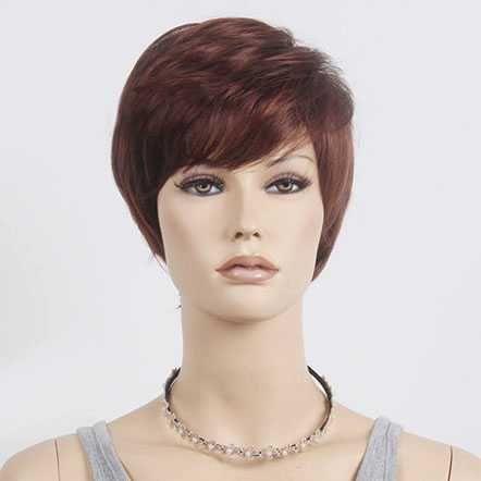 Pruik modern kort haar in laagjes roodmix