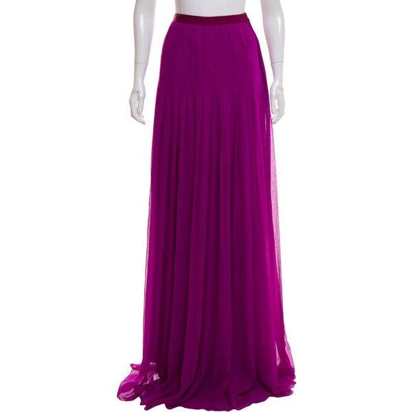 Pre-owned Oscar de la Renta Plisse Maxi Skirt (4,000 EGP) ❤ liked on Polyvore featuring skirts, purple, long purple skirt, long skirts, oscar de la renta, ankle length skirt and purple maxi skirt