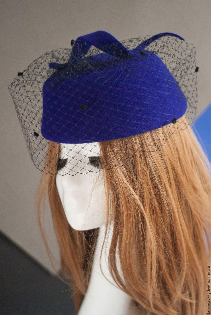 """Купить """"Ночи Кабирии"""" - тёмно-синий, шляпка, маленькая шляпка, италия, велюр, женская шляпка"""