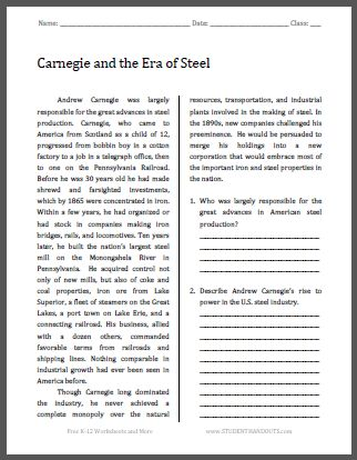 Carnegie and the Era of Steel - Free Printable American History Reading with Questions for Grades 9-12