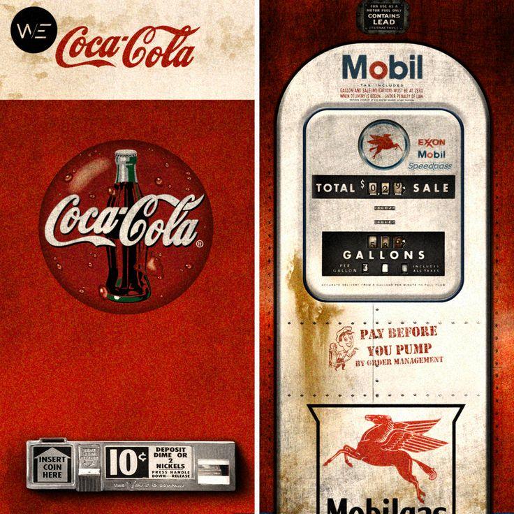 Fridge decals designed by @we.lifeasweknowit.  Coca cola & Mobil fridge decals.  Make old fridge looking brand new