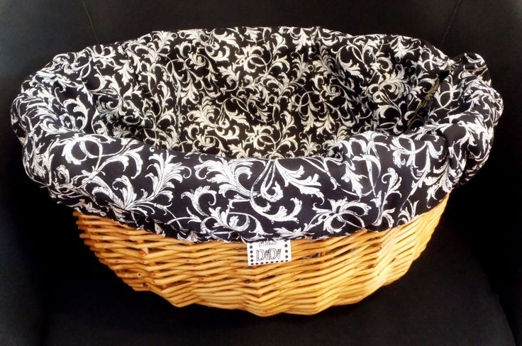 Bike BASKET LINER - made in greece - tribal style, chic black & white colour - by MrsDiDiCraftShop on Etsy