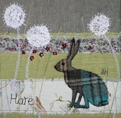 beautiful hare, full of expression. love the textiles