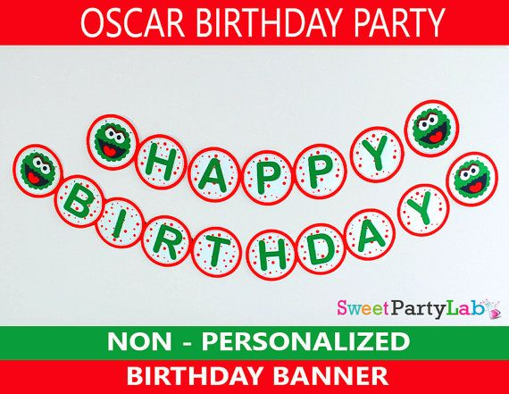 Oscar the Grouch BANNER Happy Birthday Printable by PartyLab, $5.00