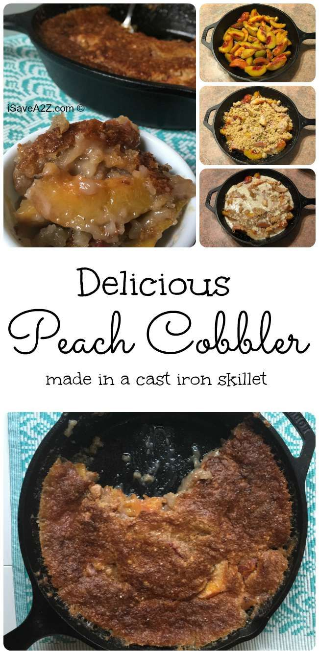 Each Peach Cobbler recipe using a cast iron skillet - one of my favorite desserts!