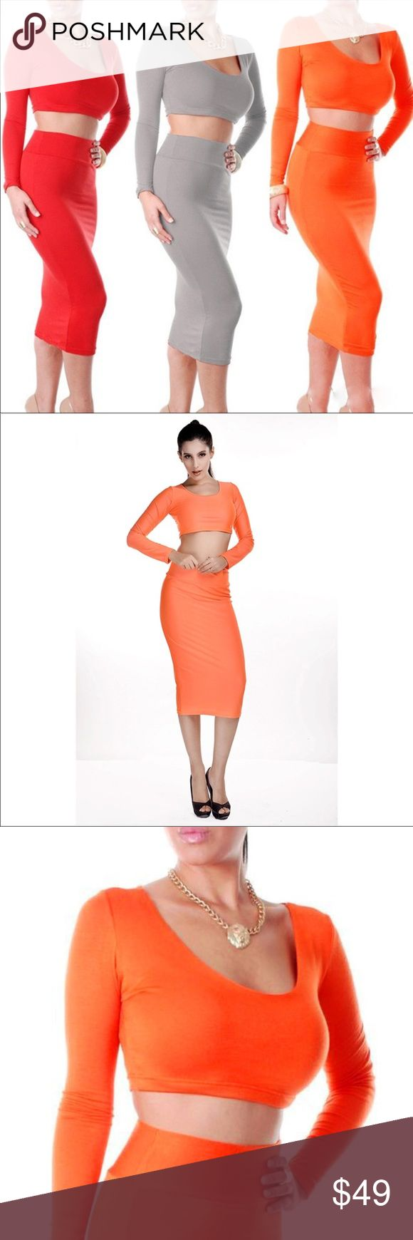 2pc Bodycon Orange High Waist Crop Top Midi Skirt 100% Brand New. Material: Lycra, Spandex Orange Pattern: Pure color Neckline: Round neck Unique Candy color, create a illusion for stunning curves.  2.As different computers display colors differently, the color of the actual item may vary  S(0-2) M(2-4) Package includes: 1 x Women's two-piece dress   Note: 1. Due to the difference between different monitors, the picture may not reflect the actual color of the item. Skirts Skirt Sets