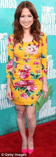 Bright young thing, Ellie Kemper, chose a colourful dress for the MTV Movie Awards 2012