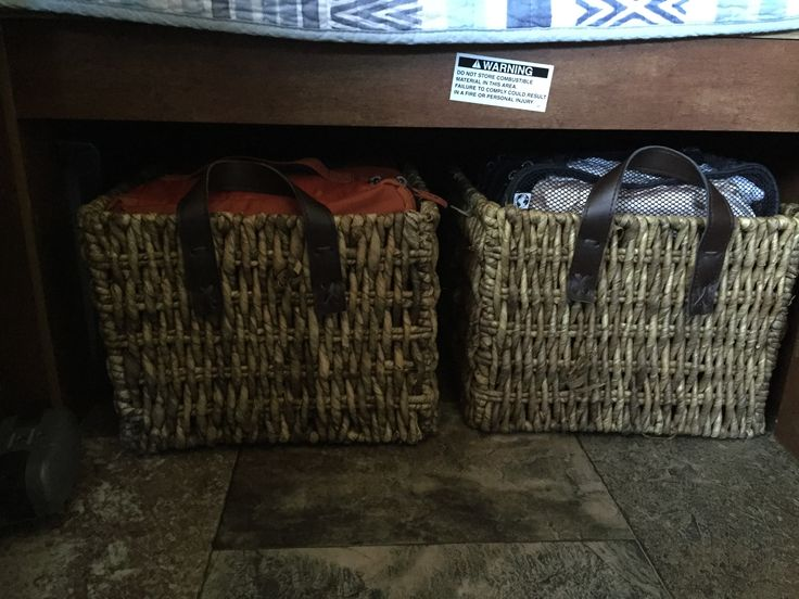 """Under bed storage baskets (approx 12""""x12""""x18"""") Need to move them when using furnace. R-Pod 179"""