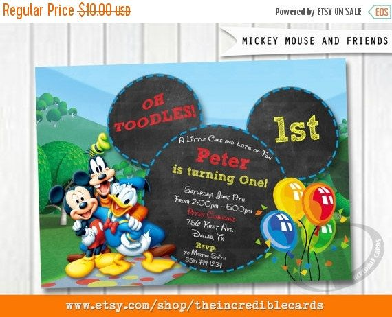 50% OFF SALE Mickey Mouse Birthday by theincrediblecards on Etsy