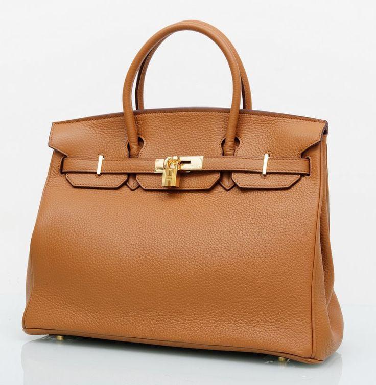 Кожаная сумка Hermes Birkin (Биркин) коричневая с золотой фурнитурой