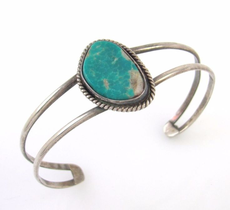 Old Pawn Navajo Handmade Sterling Silver High Grade Turquoise Cuff Bracelet│RS I