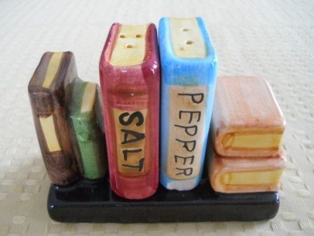 Stack of Books Salt and Pepper Shakers  Vintage by DEWshophere, $7.99