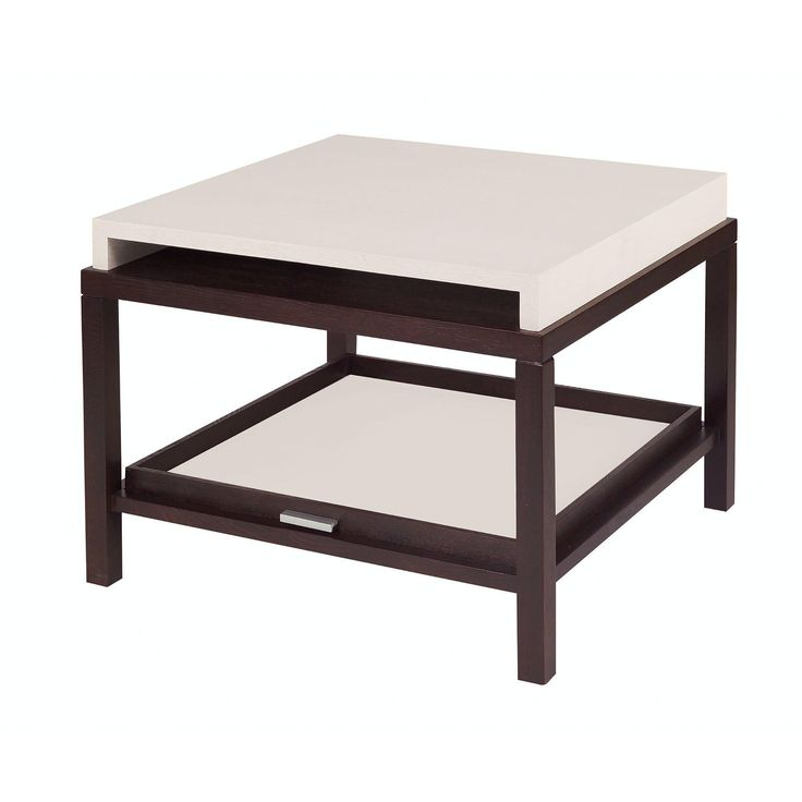 Spats 1-Drawer Square End Table in Espresso Finish with Chalk White on Ash Top by Allan Copley Designs