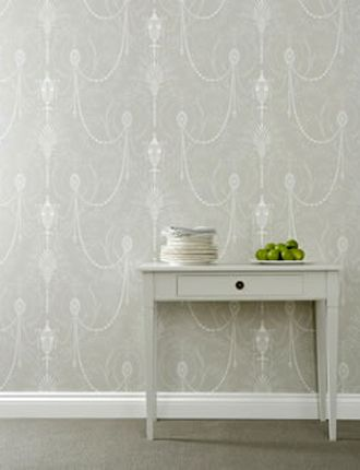 Marlborough wallpaper from Little Greene Paint Co. gray and white foyer wallpaper