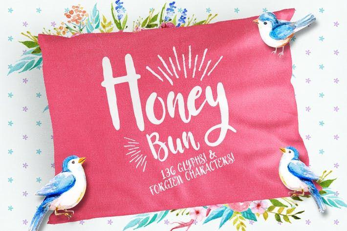 Thumbnail For Honey Bun Typeface Chalk Lettering Honey Buns Signature Fonts
