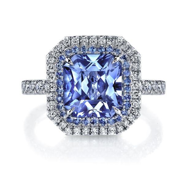 Omi Privé radiant sapphire and diamond ring