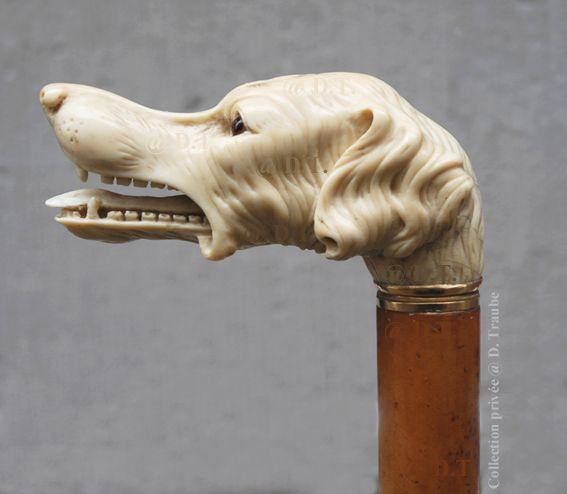 Pommeau de canne en ivoire - Setter irlandais - XIXème S.