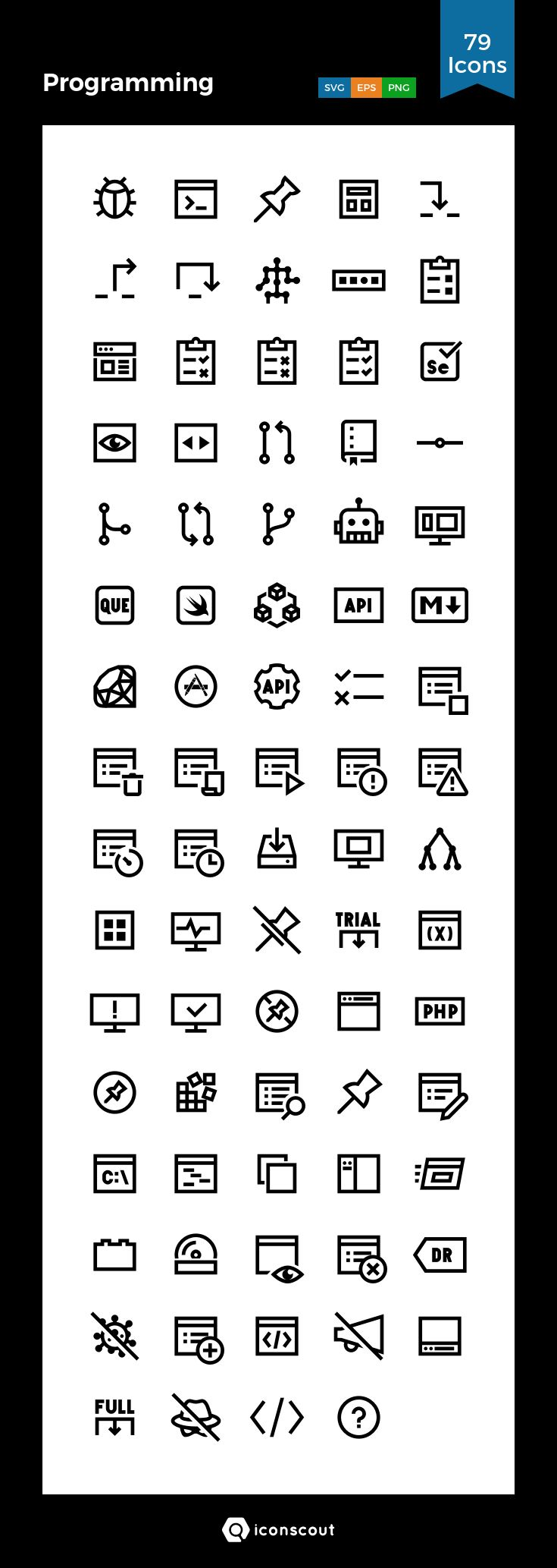 Programming  Icon Pack - 79 Line Icons
